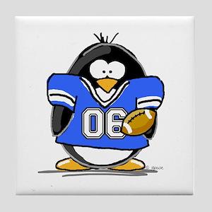 Blue Football Penguin Tile Coaster