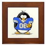 Blue Football Penguin Framed Tile