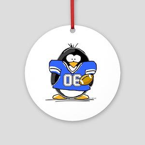 Blue Football Penguin Ornament (Round)