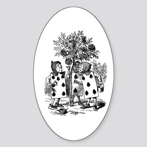 Playing Cards in Alice in Wonderland Sticker (Oval
