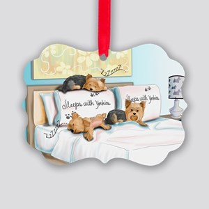 Sleeps with Yorkies Picture Ornament