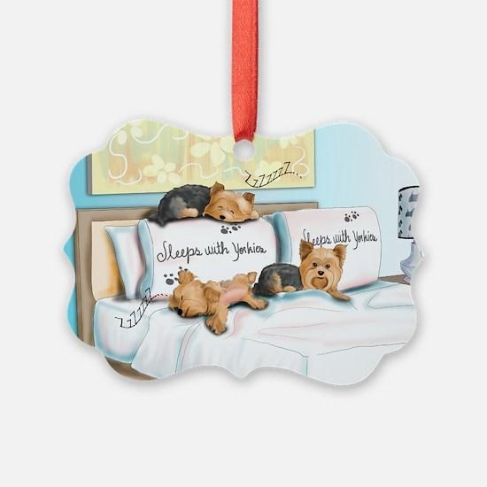 Sleeps with Yorkies Ornament