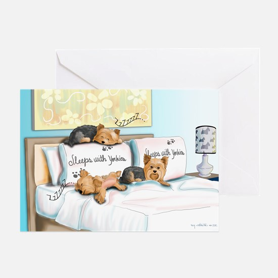 Sleeps with Yorkies Greeting Card