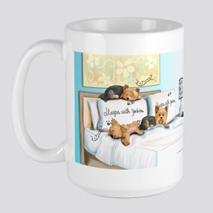 Sleeps with Yorkies Large Mug