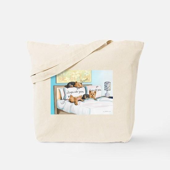 Sleeps with Yorkies Tote Bag