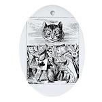 Vintage Cat Alice in Wonderland Ornament (Oval)