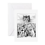 Vintage Cat Alice in Wonderland Greeting Cards (Pk