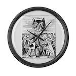Vintage Cat Alice in Wonderland Large Wall Clock
