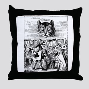 Vintage Cat Alice in Wonderland Throw Pillow