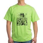 Vintage Cat Alice in Wonderland Green T-Shirt