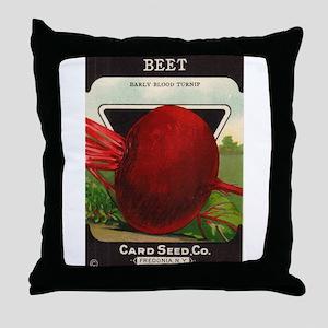 Antique Seed Packet Art Beet Throw Pillow