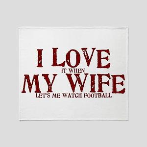 Love my wife football Throw Blanket