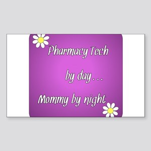 Pharmacy Tech by day Mommy by night Sticker (Recta
