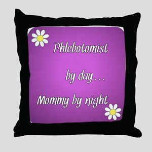 Phlebotomist by day Mommy by night Throw Pillow
