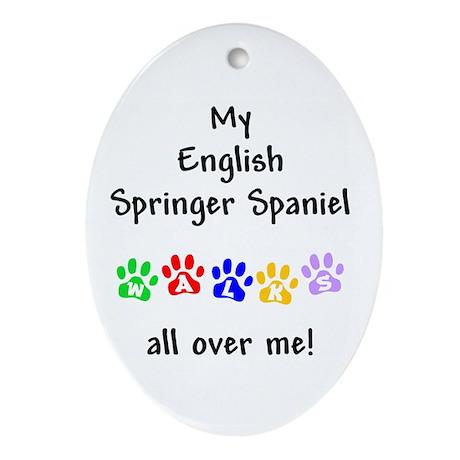English Springer Walks Oval Ornament
