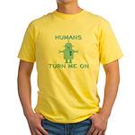 Robot, Turn Me On Yellow T-Shirt