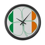 Irish Flag Four Leaf Clover Large Wall Clock