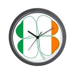 Irish Flag Four Leaf Clover Wall Clock