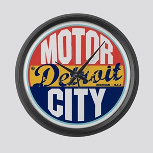 Detroit Vintage Label Large Wall Clock