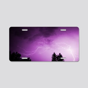Purple Lightning Aluminum License Plate