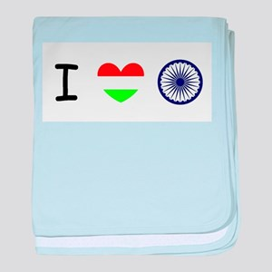 I love India - Flag baby blanket
