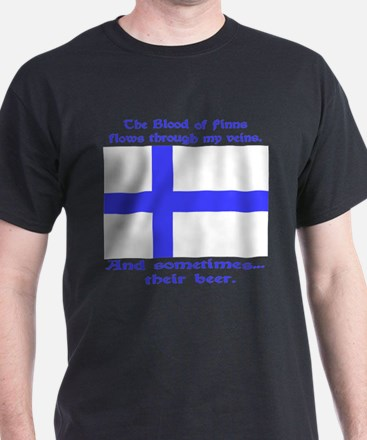 Blood of Finns Blue Letters Black T-Shirt