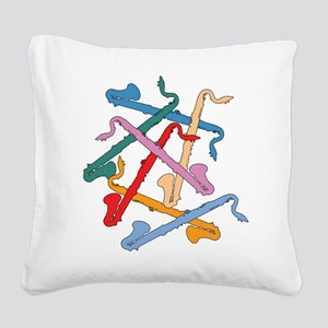 Colorful Bass Clarinets Square Canvas Pillow