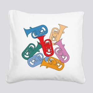 Colorful Euphoniums Square Canvas Pillow
