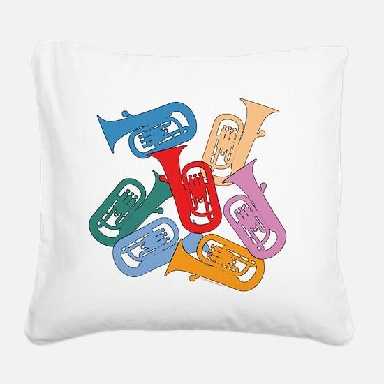 Colorful Euphoniums Square Canvas Pillow