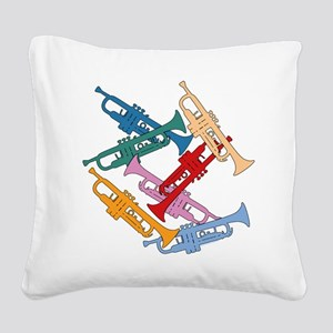 Colorful Trumpets Square Canvas Pillow
