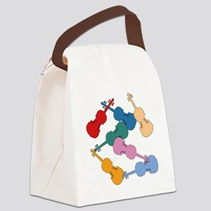 Colorful Violins Canvas Lunch Bag
