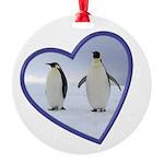 Emperor Penguins Round Ornament