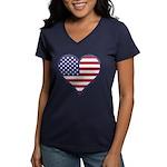 American Flag Heart Women's V-Neck Dark T-Shirt