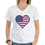 American Flag Heart Women's V-Neck T-Shirt