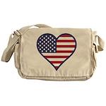 American Flag Heart Messenger Bag
