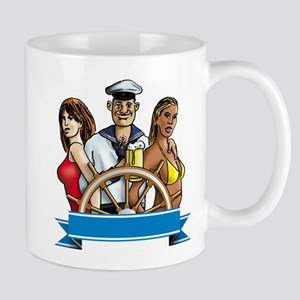sailor with beer and sexy bikini babes Mug