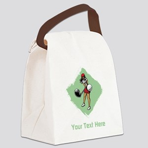 Golf Lady with Custom Text. Canvas Lunch Bag