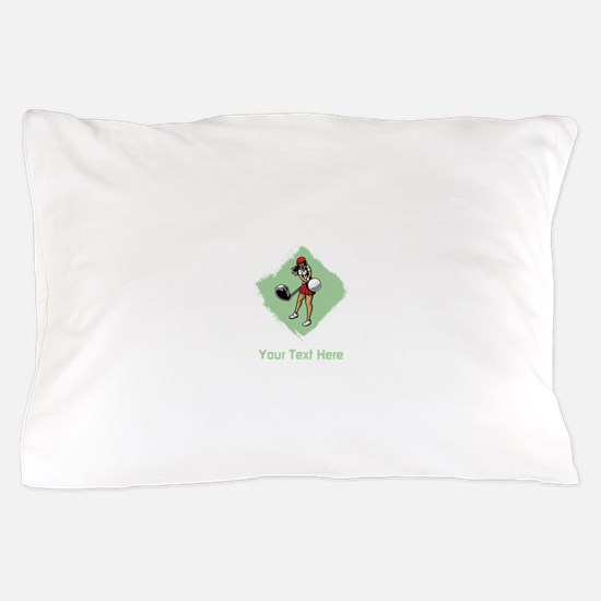Golf Lady with Custom Text. Pillow Case