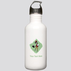 Golf Lady with Custom Text. Stainless Water Bottle