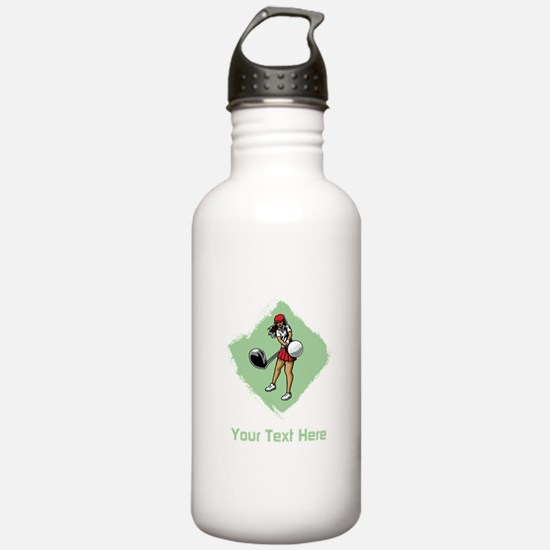 Golf Lady with Custom Text. Water Bottle