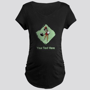Golf Lady with Custom Text. Maternity Dark T-Shirt