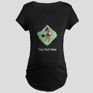 Golf Lady with Custom Text. Maternity Dark T-Shirt