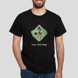 Golf Lady with Custom Text. Dark T-Shirt