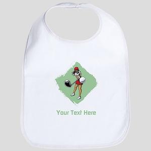 Golf Lady with Custom Text. Bib