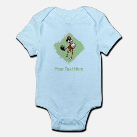 Golf Lady with Custom Text. Infant Bodysuit