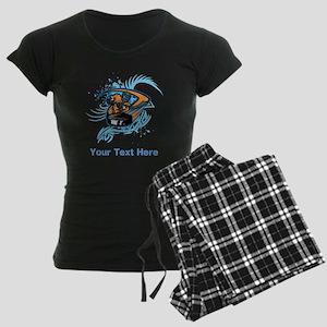 Ice Hockey. Custom Blue Text. Women's Dark Pajamas