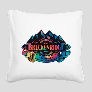 Breckenridge Mountain Emblem Square Canvas Pillow