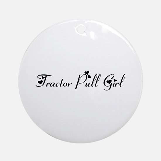 Tractor Pull Girl Ornament (Round)