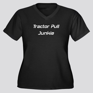 Tractor Pull Junkie Women's Plus Size V-Neck Dark