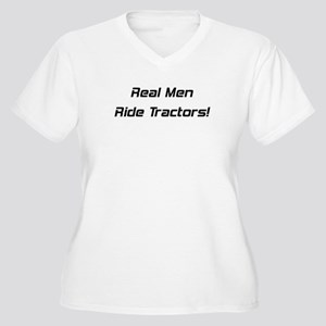 Real Men Ride Tractors Women's Plus Size V-Neck T-